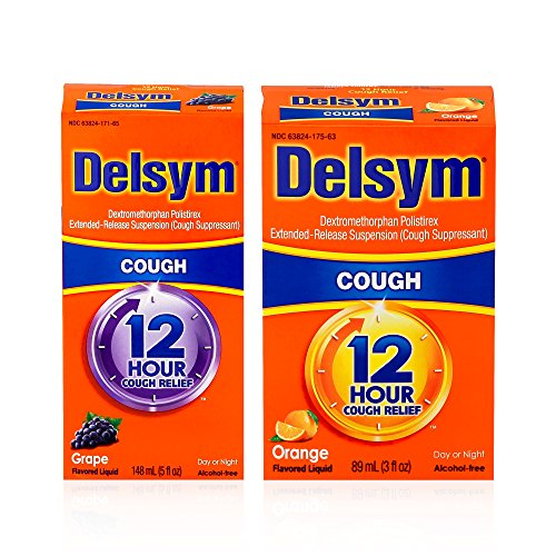 Delsym Mixed Flavor Combo Pack for Adults: Delsym Adult 12 Hr Cough Relief Liquid, Grape (5oz) and Delsym Adult 12 Hr Cough Relief Liquid, Orange (5oz) by Delsym