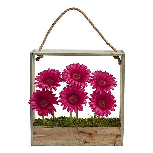 Nearly Natural Gerber Daisy Garden Artificial Arrangement in Hanging Wood Frame (Gerber Daisy Decor)