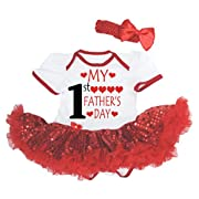 Petitebella My 1st Father's Day White Bodysuit Red Sequins Tutu Nb-18m (6-12 Months)