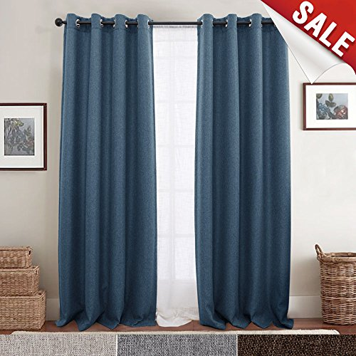 Room Darkening Curtains for Bedroom 84 inch Long Linen Like Textured Moderate Blackout Curtain in Denim Blue One Panel (Blue Curtain)