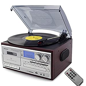 Bluetooth Turntable LP Vinyl Record Player CD/Cassette/Radio/USB Stereo Speakers