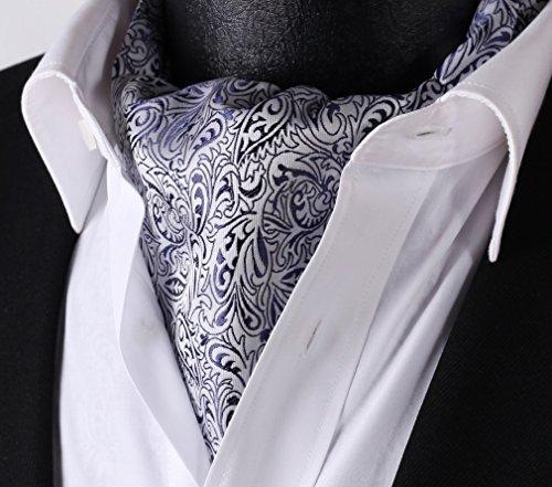 Set Men's Jacquard White Ascot HISDERN Floral Blue Woven Navy wX1Oddq