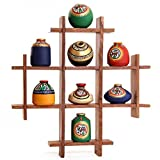 Unravel India 8 Terracotta Warli Handpainted Pots With Sheesham Wooden Frame