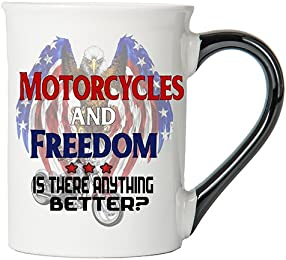 Motorcycles And Freedom Is There Anything Better? Mug, Motorcycles And Freedom Is There Anything Better? Coffee Cup, Motorcycles And Freedom Is There Anything Better? Cup, Harley Gifts By Tumbleweed