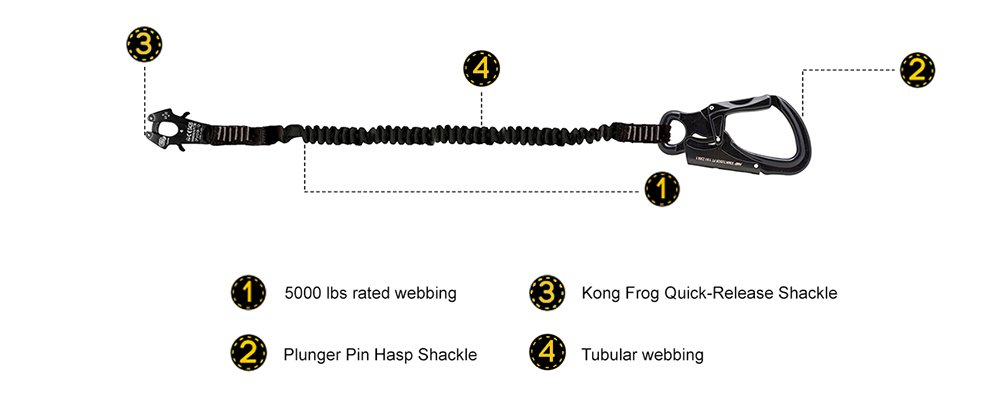 Fusion Tactical 6ft 72x1 Internal Elastic Bungee Military Police Personal Retention Helo Lanyard with Kong Frog Shackle Snap Hook 23kN Black LH-32-8001-FROG-BK72