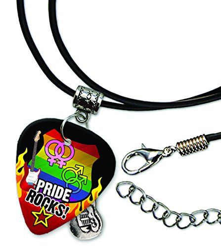 Lesbians Rock - Gay Lesbian Pride Rocks Rock Guitar Pick Leather Cord Necklace (R1)
