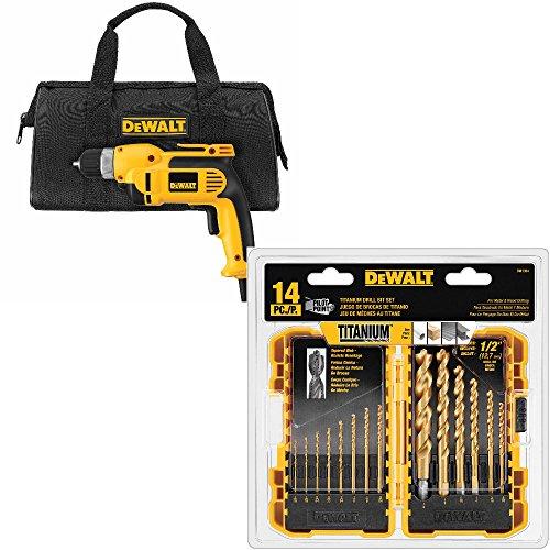 DeWalt DWD110K 3/8 inch Pstl Grip Drl Kit & DeWalt DW1354 14-Pc Titanium Drl Bit Set