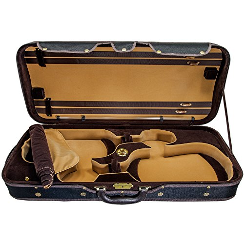 SKY Heavy Duty 4/4 Full Size Wooden Pro Double Violin Case Black/Khaki ()