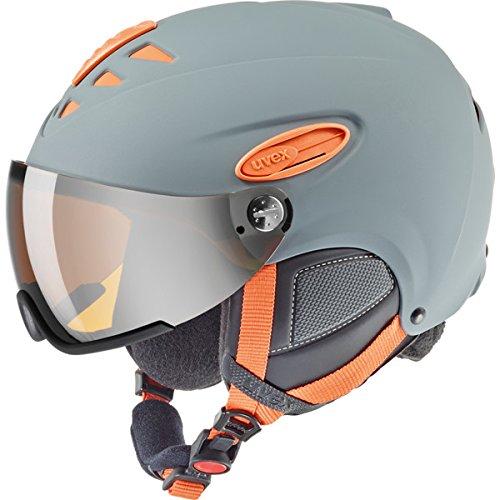 UVEX Erwachsene Hlmt 300 Visor Skihelm, Grey-Orange Mat, 55-58 cm