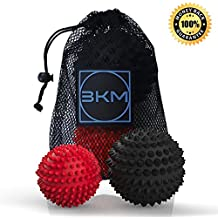 Massage Ball 2 PACK - Spiky Massager Roller Balls - Plantar Fasciitis, Deep Tissue Foot, Back, Shoulder, Legs, Muscle Therapy - Best Porcupine for Acupressure & Myofascial - 3.5 in/2.75 in, Extra Firm