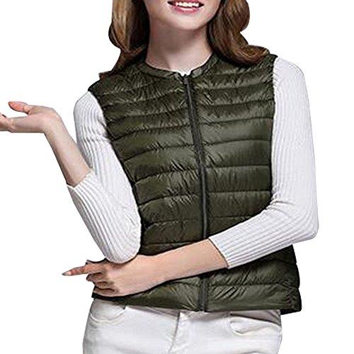 Body Down XFentech Women Girls Sleeveless Winter Green Ultralight Warmer Zipper Gilet Vest Ladies 4xvgwqx1f
