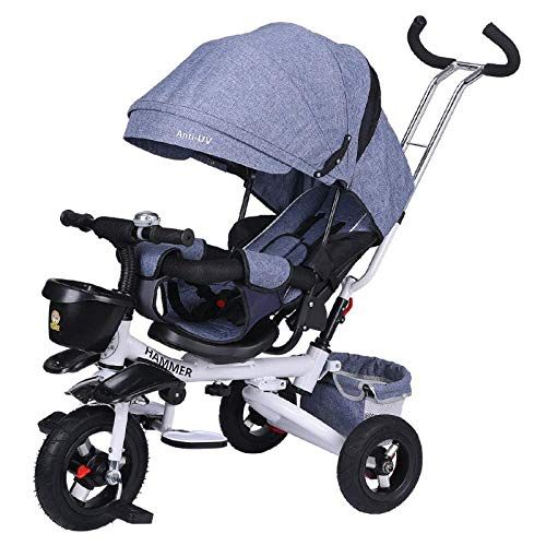 - Childrens Tricycle 4 In 1 Childrens Folding Tricycle 8 Months To 6 Years 5-Point Safety Belt 360° Swivelling Saddle Children's Pedal Tricycle Adjustable Backrest Child Trike Maximum Weight 50 Kg T