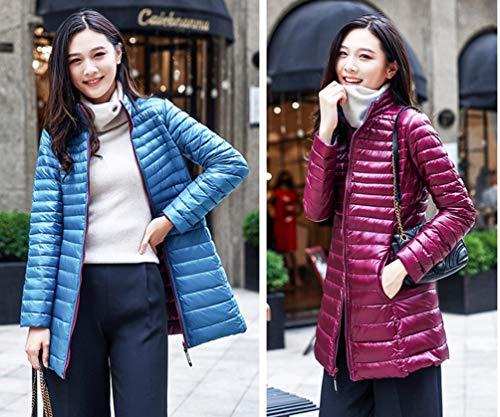 Manteau Chaud Jacket Rouge Femme Zkooo Vin Capuche Long À Surdimensionné Manteau Down Slim Fit Léger Rembourré Bleu gqxOTY