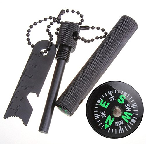 Magnesium flint fire starter 6-in-1 multifunctional Flint + Compass + Scraper + Bottle Opener + Dividing Ruler + Map (Recycled Map)