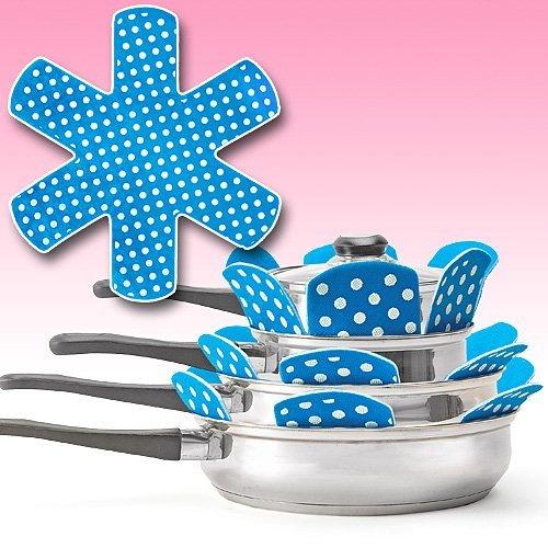 PADDED POT AND PAN PROTECTORS (SET OF 6) BLUE (Frying Pan Protectors)