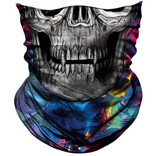 AXBXCX 3D Skull Skeleton Neck Gaiter Face Mask for Motorbike Motorcycle Cycling Riding Hiking Hunting Fishing Skateboard Powersports Cosplay Halloween Party Music Festivals Raves Tube Face Mask 035