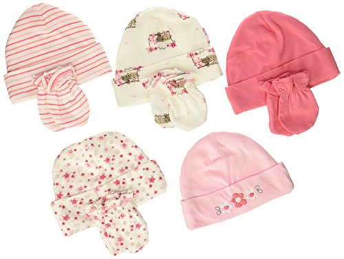 gerber-baby-girls-pack-of-5-4-pair-lilac-flowers-cap-0-6m-mitten-0-3m