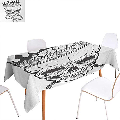 Warm Family King Dinning Tabletop Decoration Sketchy Skull with Crown Hip Hop Street Style Necklace Chain Gem Image Print Table Cover for Kitchen 60