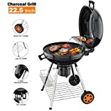 TACKLIFE Charcoal Grill, 22.5 inch Diameter Practical Advanced Double-Layer Grid Portable Grill, Reinforced 1.25 inch Thickened Steel Support Frame BBQ Grill, One-Touch Clean System(Ash Leak) - CG01A
