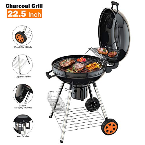 TACKLIFE Charcoal Grill, 22.5 inch Diameter Practical Advanced Double-Layer Grid Portable Grill, Reinforced 1.25 inch Thickened Steel Support Frame BBQ Grill, One-Touch Clean System(Ash Leak) – CG01A