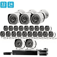 Zmodo 32 Channel Network NVR 24 x Weatherproof IP HD Video Security Camera System, Customizable Motion Detection, w/sPoE Repeater for Extension
