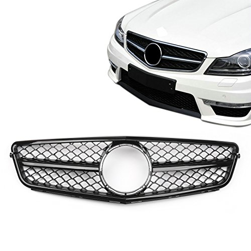 Artudatech Front Bumper Grille Grill For Benz W204 C-CLASS C180 C200 C250 C300 C350 2008-2014丨C63 AMG Style丨Black