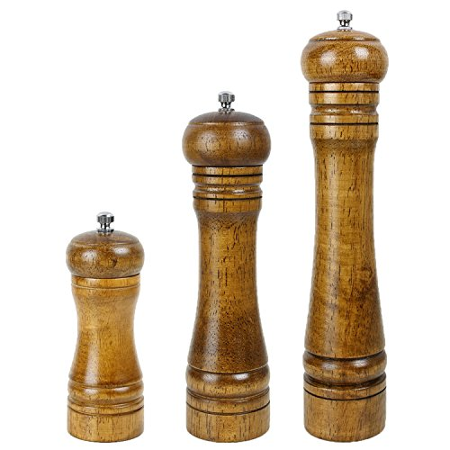 Antrader Salt Mill and Pepper Spice Mill Kit Grinder Shaker Wooden Wood Color 5 Inch,8 inch,10 Inch, Set of 3