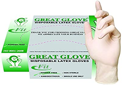 GREAT GLOVE Latex Industrial Grade Foodservice Glove, 3.5-4.5 mil, Powder-Free, Textured, Natural Rubber Latex, General Purpose, FDA 177.1950 Compliant