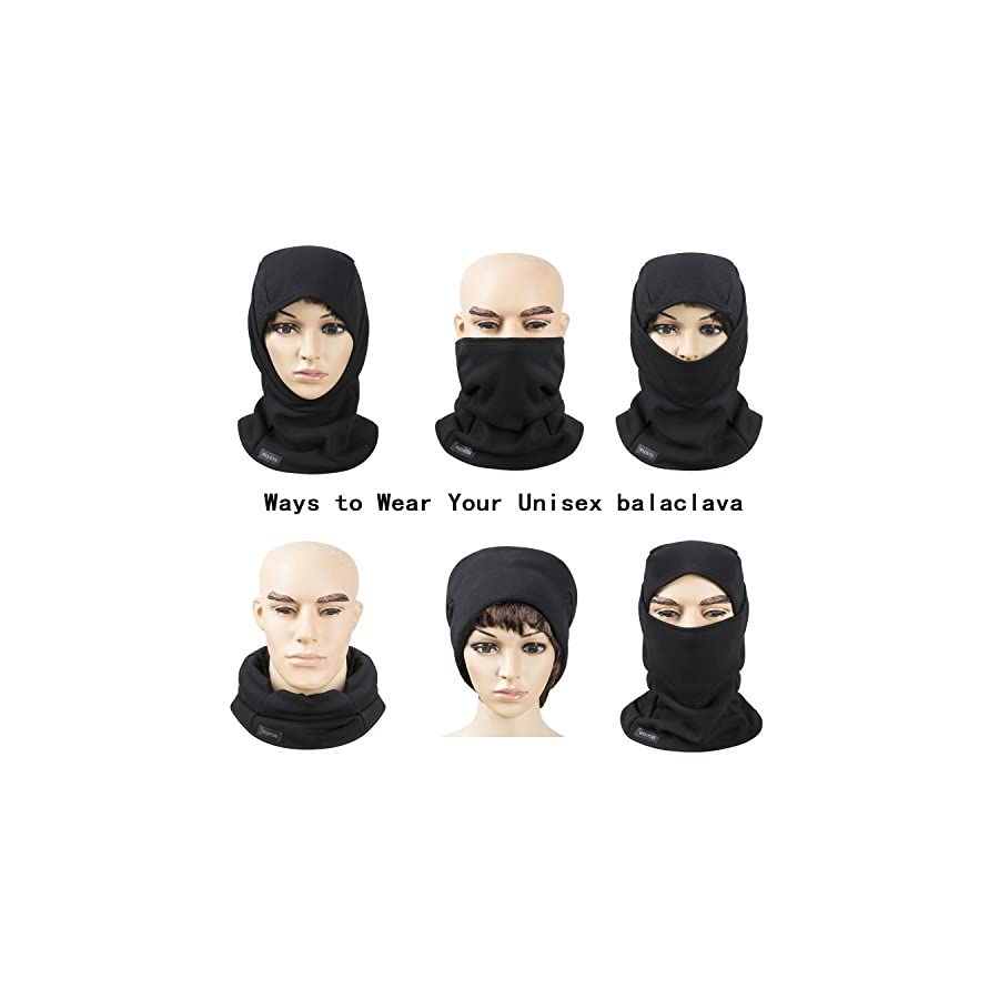 REDESS Fleece Lined Balaclava, Winter Windproof Ski face Mask,Thermal Motorcycle Neck Warmer and Tactical Balaclava Hood