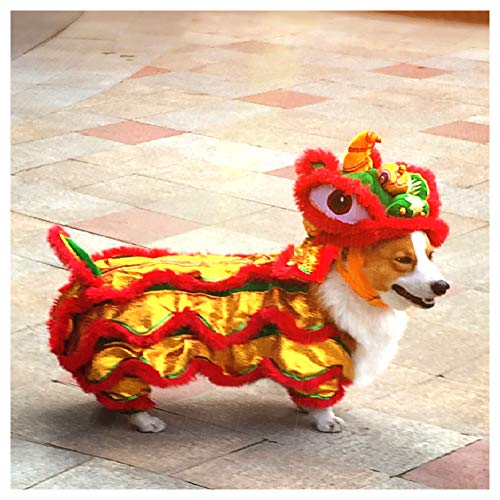 (PETLOCA Dog Dancing Lion Costume Festive Gold Lion Kekifa French Bulldog Shiba InuPet Clothing)