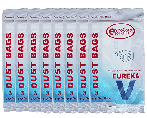 24 Eureka Style V Vacuum Bags Power Team Powerline Canisters World Vac Home Cleaning System Vacuum Cleaners 3800 3900 6700 6800 6865 8000 8200 8900 52358 52358-12 576898-12 (Filteraire) 54923-10 6865 -