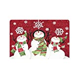 Merry Christmas Cute Snowman Custom Doormat Entrance Mat Floor Mat Rug Indoor/Outdoor/Front Door/Bathroom Mats Rubber Non Slip Size 23.6 x 15.7 inches