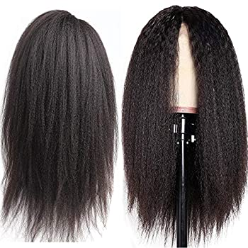 Image of Glueless 360 Lace Frontal Wigs Kinky Straight Pre Plucked With Baby Hair 150% Density Lace Front Human Remy Hair Wigs For Black Women Natural Color (20 inch, kinky straight)