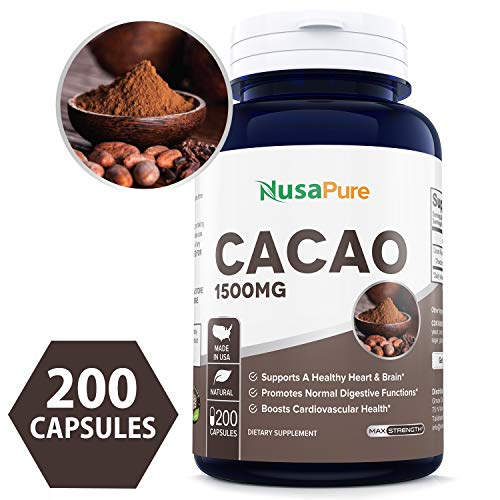 (Best Cacao 1500mg 200caps (Non-GMO & Gluten Free) Promote Healthy Blood Flow from Head to Toe, Transport Nourishing Oxygen & Nutrients More Easily to Organs - Made in USA - 100% Money Back Guarantee!)