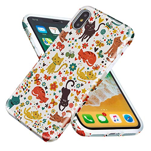 Vimorco iPhone Xs Case, iPhone X Case, Full-Body Protector Anti-Fall Soft Silicone Lightweight TPU Case for iPhone Xs 5.8 Inch 2018 (Colorful - Cat Protector Big Case