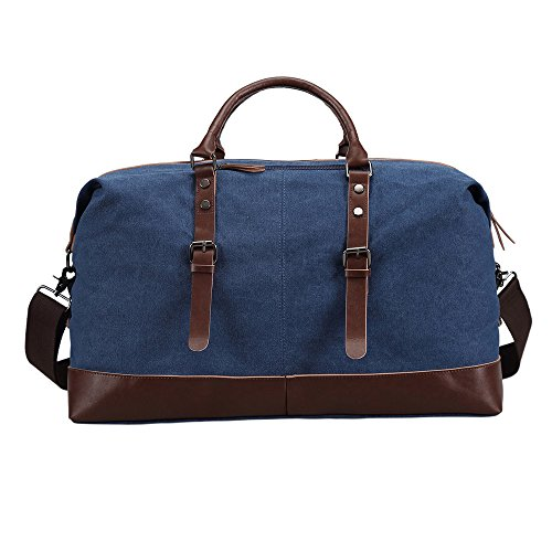 Ulgoo Travel Duffel Bag Canvas Bag PU Leather Weekend Bag Overnight (Deep Blue) by Ulgoo (Image #4)