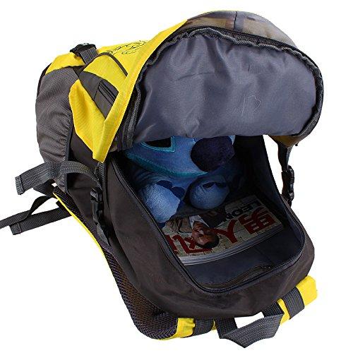 Montañismo bolso al aire libre hombres y mujeres hombro mochila Nylon senderismo paquete bolsas de escuela, rojo amarillo