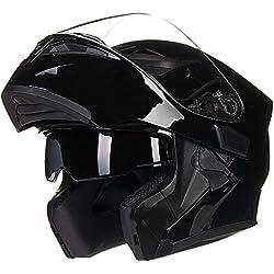 ILM Motorcycle Dual Visor Flip up Modular Full Face Helmet DOT with 6 Colors (XL, GLOSS BLACK)