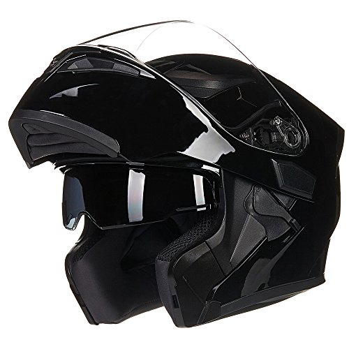 ILM Motorcycle Dual Visor Flip up Modular Full Face Helmet DOT with 6 Colors (XL, GLOSS BLACK)