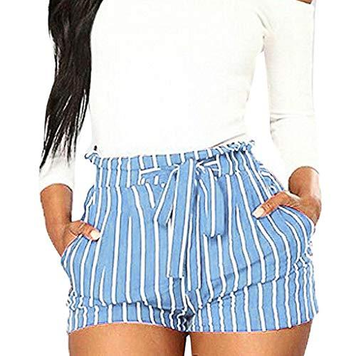YKARITIANNA Women Stripe Printing Pocket High Waist Bandage Easy Elastic Casual Short Pants Sky ()