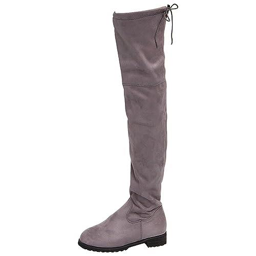 Wealsex Zapatos de Mujer Botines Sobre La Rodilla Señoras Otoño Invierno Moda Tramo Faux Delgado Alto Botas: Amazon.es: Zapatos y complementos