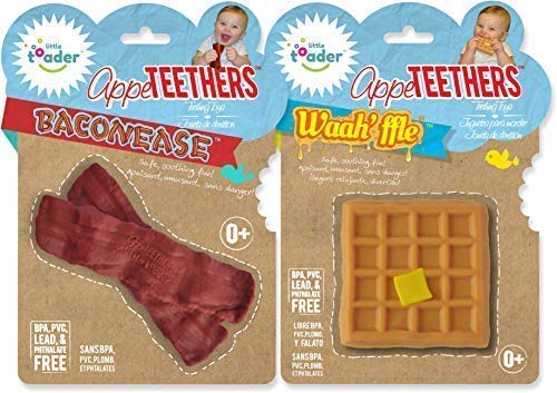 Little Toader Teething Toys - Soft Silicone Food Shaped BPA Free Teethers (Bacon & Waffle)