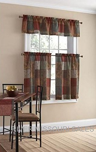 Tuscan Inspired Palette Of Neutrals 3 Piece Window Valance and Tier Set