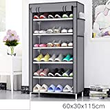 Keekos Multipurpose Portable Folding Shoes Rack 6 Tiers Multi-Purpose Shoe Storage Organizer Cabinet Tower with Iron and Nonwoven Fabric with Zippered Dustproof Cover (Grey)