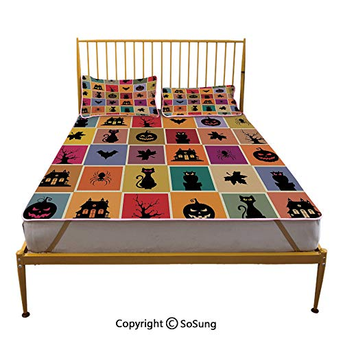 Vintage Halloween Creative King Size Summer Cool Mat,Bats Cats Owls Haunted Houses in Squraes Halloween Themed Darwing Art Decorative Sleeping & Play Cool Mat,Multicolor