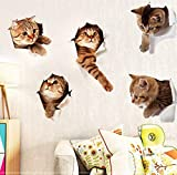 Originalidad 5PCS 3D Removable Cats Large Wall Stickers Decals | Cute Animal Wall Sticker mural for Kids | Cute kitty Decor Posters for Nursery Room, Toilet, Kitchen, Offices,Refrigerator,Car