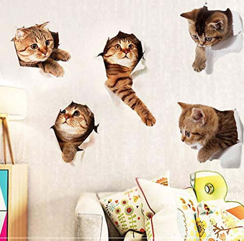 Originalidad 3D Removable Cats Large Wall Stickers Decals | Cute Animal Wall Sticker mural for Kids | Cute kitty Decor Posters for Nursery Room, Toilet, Kitchen, Offices | A set of 5