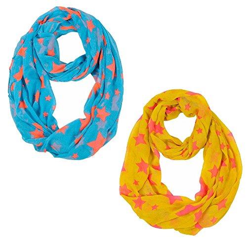 2toallas azul Top blusa chaqueta estrellas larga loop bufanda cuello redondo bufanda pañuelo bufandas mujeres bufanda naranja amarillo mod 3