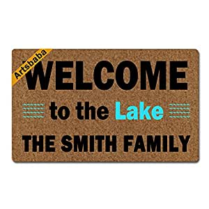 "Artsbaba Personalized Your Text Doormat Welcome To The Lake Doormats Monogram Non-Slip Doormat Non-woven Fabric Floor Mat Indoor Entrance Rug Decor Mat 30"" x 18"""