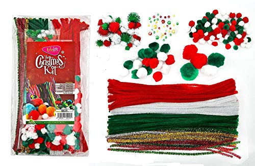 Christmas Themed Craft Kit – Pompoms, Pipe Cleaners, Googly Eyes in Acrylic and Tinsel Christmas Colours – 312 Pieces